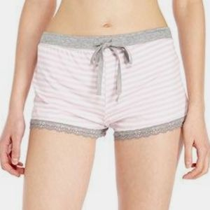 Pjsalvage Pink and lace stripped pj shorts
